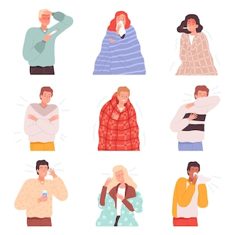Krankheit menschen. grippekranke charaktere krankheiten patientenbehandlung person nase virus vektor-cartoon-illustrationen. symptom ungesundes coronavirus, niesen der atemwege und schmerzen