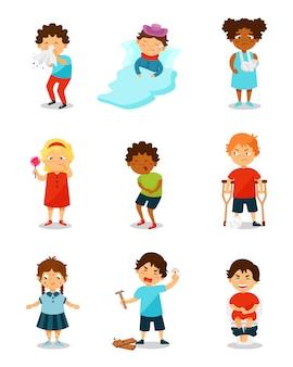 Krankheitskinder eingestellt, jungen und mädchen, die unter verschiedenen symptomen illustration auf einem weißen hintergrund leiden