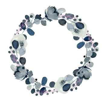 Kranz aus aquarell-indigo-rosen und anderen blumen und pflanzen