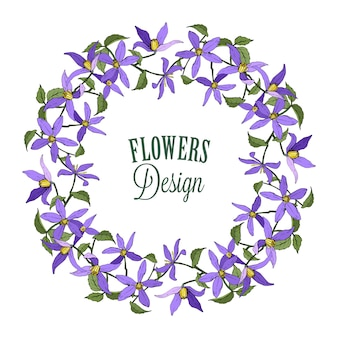 Kranz aus blauen clematis. gartenblumen
