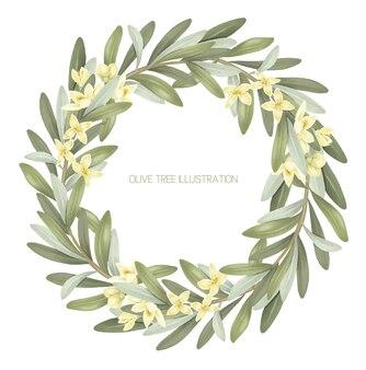 Kranz aus blühenden olivenbaumzweigen