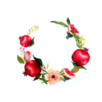 Kranz aus granatapfelfrüchten und blüten.