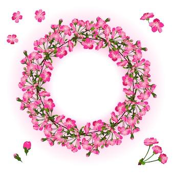 Kranz aus kirschblütenzweig