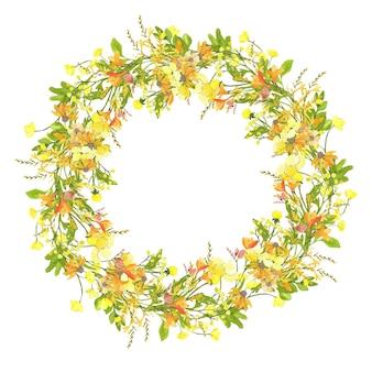 Kranz aus kleinen gelben wildblumen
