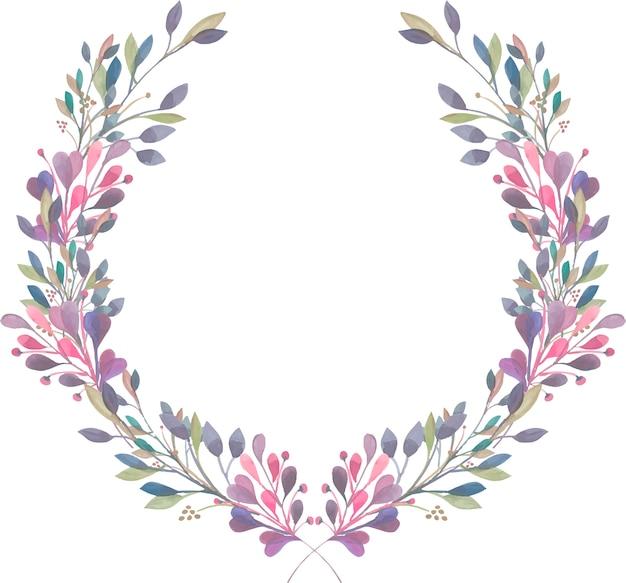Kranz aus lila, rosa und grünen zweigen des aquarells