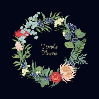 Kranz aus trendigen schönen blühenden floristischen blumen oder blühenden pflanzen