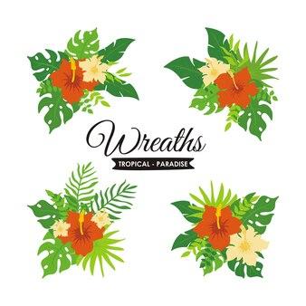 Kranz aus tropischen pflanzen und blumenset, kranz und abzeichen aus exotischen tropischen blättern