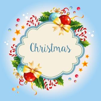 Kranz farbige klare balldekoration der weihnachtsschablone