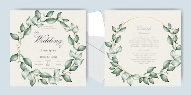 Kranz-grün-hochzeits-einladungs-karten-satz-schablone mit elegantem handgezeichnetem blumenaquarell und laub