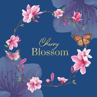 Kranz mit blütenvogelkonzeptdesign-aquarellillustration