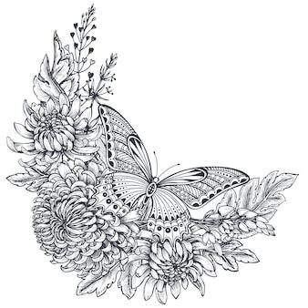 Kranz mit chrysanthemenblüten und schmetterling
