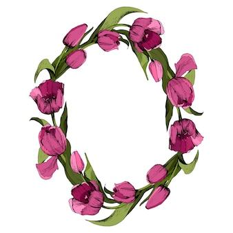 Kranz mit farbigen rosa tulpen.