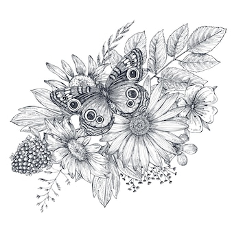 Kranz mit handgezeichneten blumen, blättern, zweigen und schmetterling im skizzenstil. monochrome vektorillustration