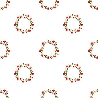 Kranz mit roten blumen und grünen blättern auf einem weißen hintergrund nahtlose muster