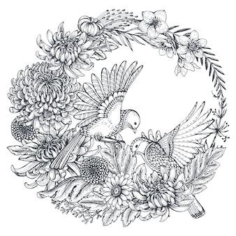 Kranz mit schwarz-weißen handgezeichneten chrysanthemenblüten