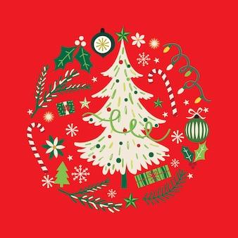 Kranz mit weihnachtsbaum und christbaumschmuck