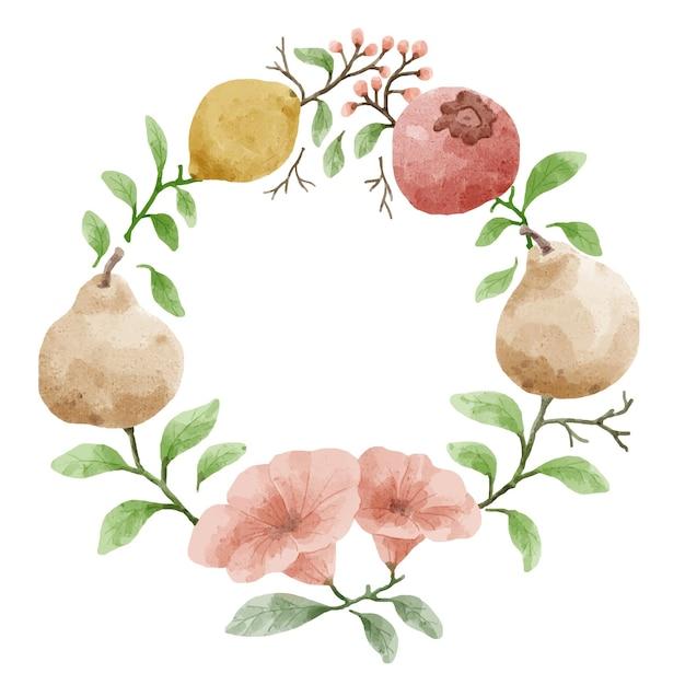 Kranz mit zweigen verziert. blüten und blätter sind mit zitrone und guave verziert.