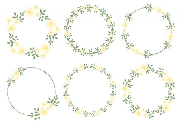 Kranz-rahmensammlung der netten flachen art minimale weiße gelbe blume für valentinstag