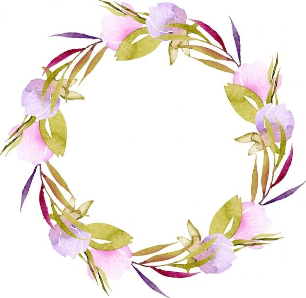 Kranz von rosa und lila kleinen wildblumen des aquarells