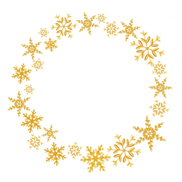Kranz von weihnachten gemacht mit goldenen schneeflocken