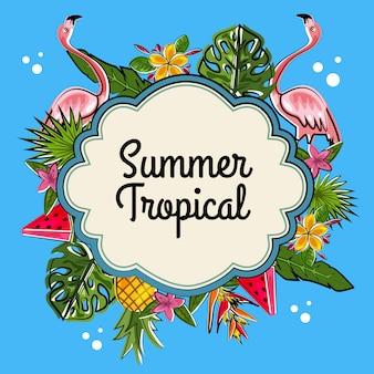 Kranzfarbene tropische sommerschablone
