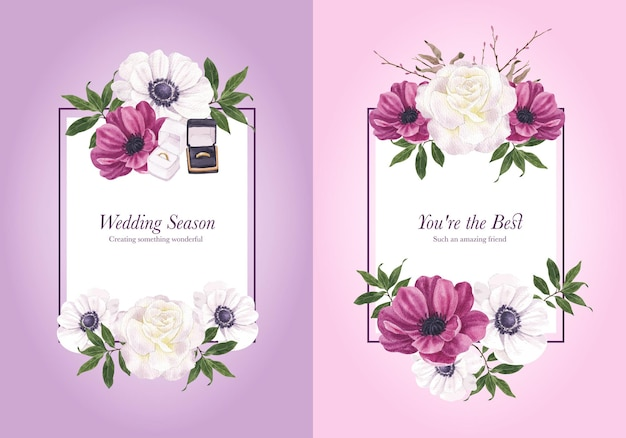 Kranzschablone mit lila violettem hochzeitskonzept, aquarellart