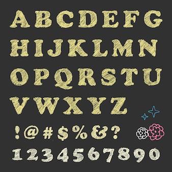 Kratzbuchstaben zahlen notation und blumenmuster an der tafel.