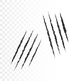 Kratzer von wildtierkrallen. gruselige schnittpapieroberfläche. papierrand zerrissen. vektorillustration