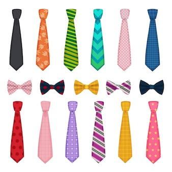 Krawatte und schleifen. farbige modekleidung accessoires für herrenhemden passt zu vektorsammlungen von krawatten. krawatte bogen und krawatte, mann zubehör kleidung illustration