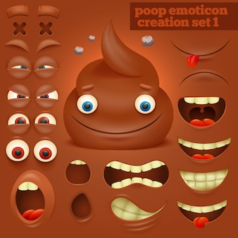 Kreationssatz des karikatur poo emoticoncharakters.