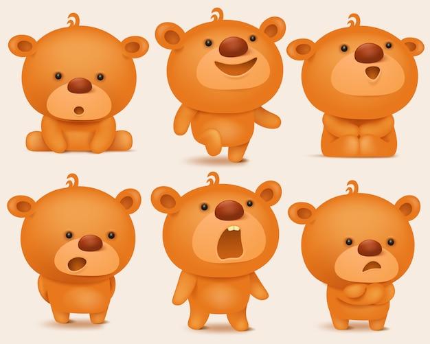 Kreationssatz teddybärcharaktere mit verschiedenen gefühlen.
