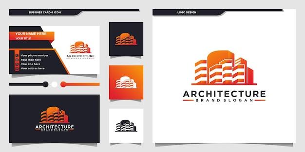 Kreativ des logodesigns der gebäudearchitektur mit moderner farbverlaufsfarbe und visitenkarte premium vektor