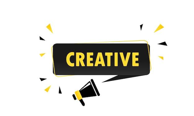 Kreativ. megaphon mit kreativer sprechblasenfahne. lautsprecher. kann für geschäft, marketing und werbung verwendet werden. kreativer werbetext. vektor-eps 10.