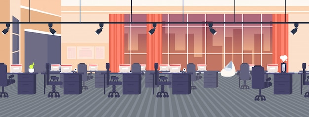 Kreativbüro leer keine menschen offener raum mit möbeln moderne co-working-center innen panoramafenster nacht stadtbild hintergrund horizontal