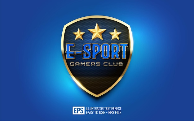 Kreative 3d e-sport gamers club bearbeitbare stileffektvorlage