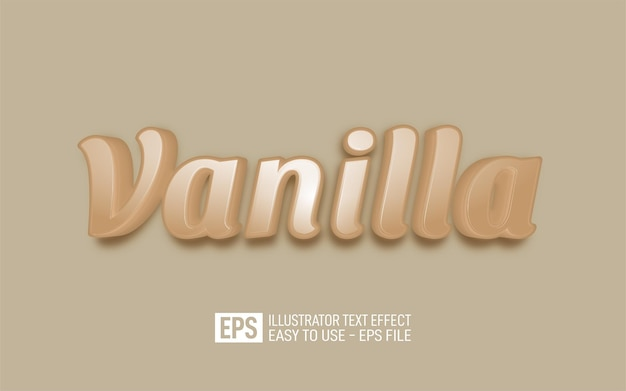 Kreative 3d-text-vanille, bearbeitbare stileffektvorlage