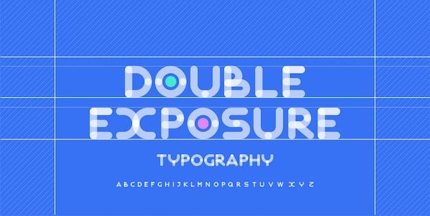 Kreative abgerundete schriftarten des modernen alphabets. typografie urban rund fett mit punkt doppelbelichtung schriftart. illustration
