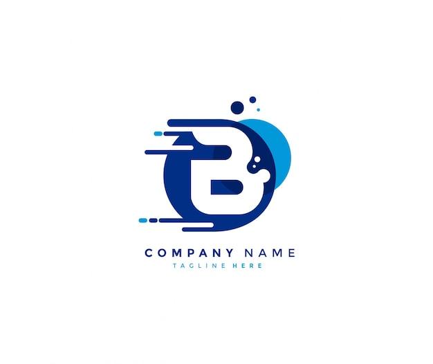 Kreative abstrakte blaue farbe punktiert anfangsbuchstaben b schnelles logo