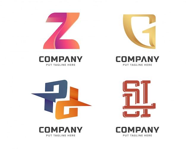 Kreative anfangsart gesetzte logoschablone des buchstaben für geschäft