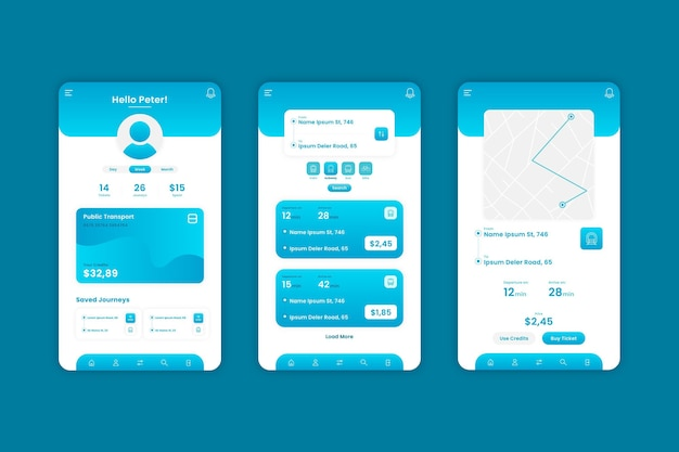Kreative app-vorlage für öffentliche verkehrsmittel