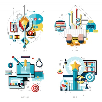 Kreative arbeit icons set