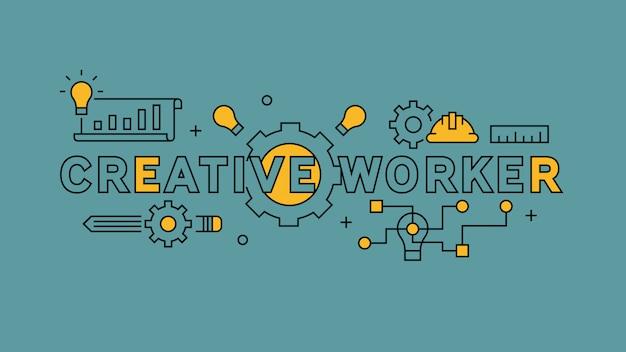Kreative arbeiter flache linie design