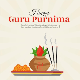 Kreative bannerillustration der glücklichen guru purnima-vorlage