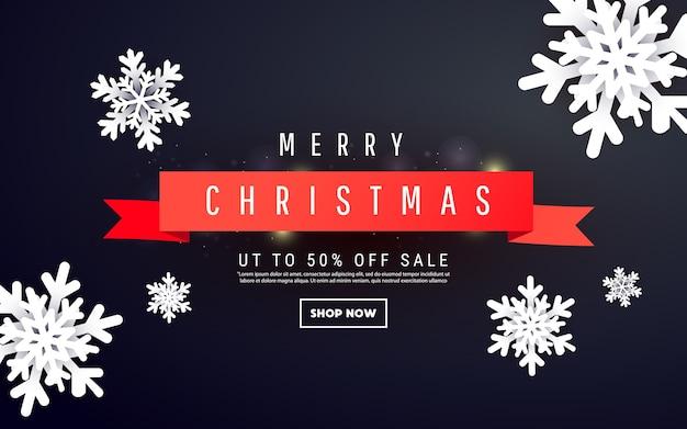 Kreative bannerschablone mit dreidimensionalen formen von weihnachtsschneeflocken