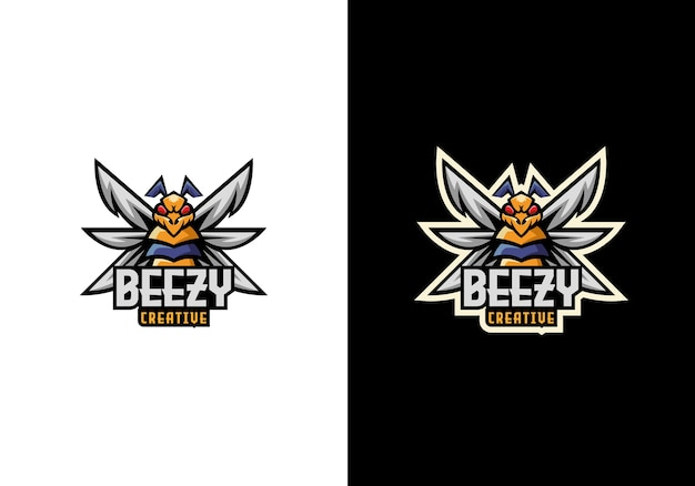 Kreative bee buzz sport maskottchen charakter logo design
