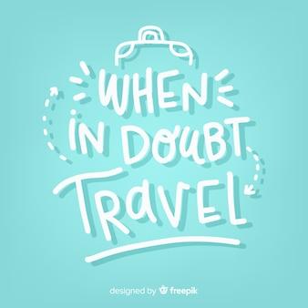 Kreative beschriftung mit reisekonzept