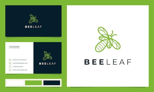 Kreative biene mit dem konzept der blätter und visitenkarten