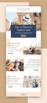 Kreative blogger-e-mail-vorlage mit fotos