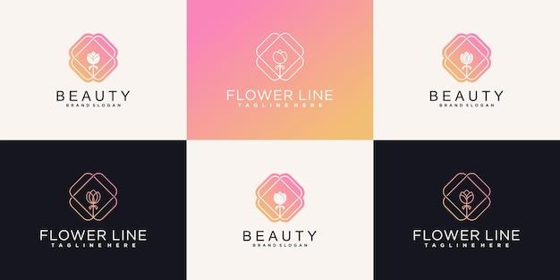Kreative blumenlogo-designschablone mit einzigartigem linienkunstfarbstil für schönheitssalon premium-vektor