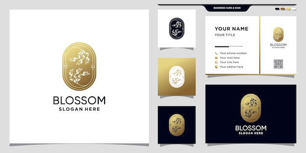 Kreative blumenrosenlogoschablone goldene artfarbe mit negativem raum und visitenkartendesign